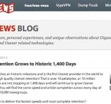 1400+ jours de rétention chez Giganews